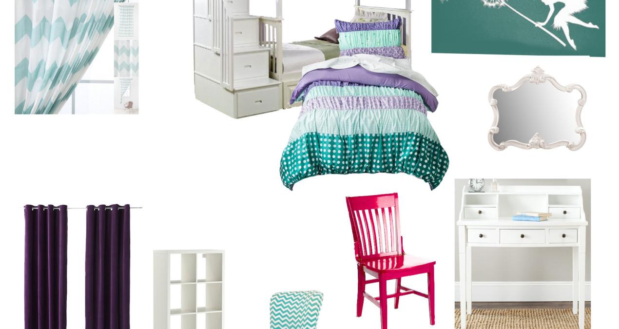 Turquoise & Lavender Girl's Room
