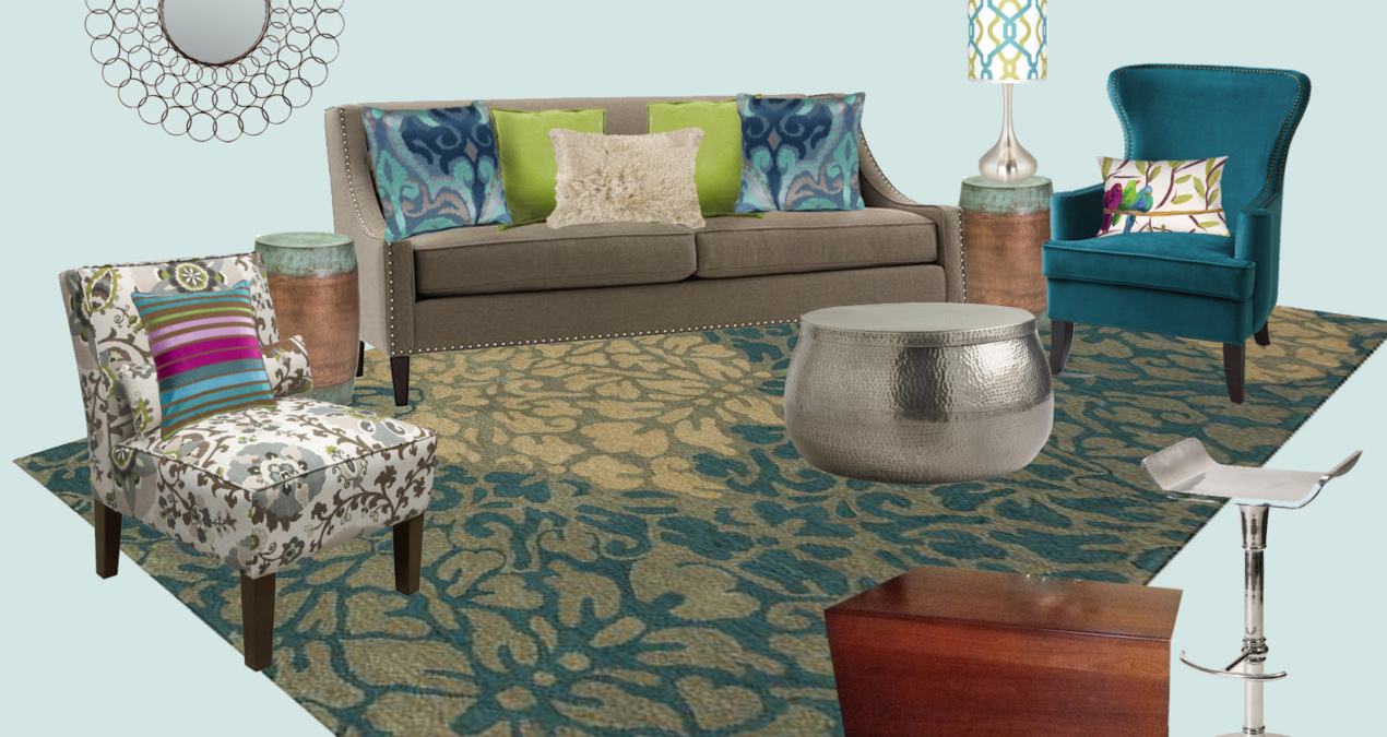 Peacock Blue Eclectic Living Room E-Design