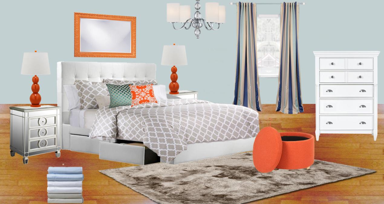 Tangerine & Sky Modern Bedroom E-Design