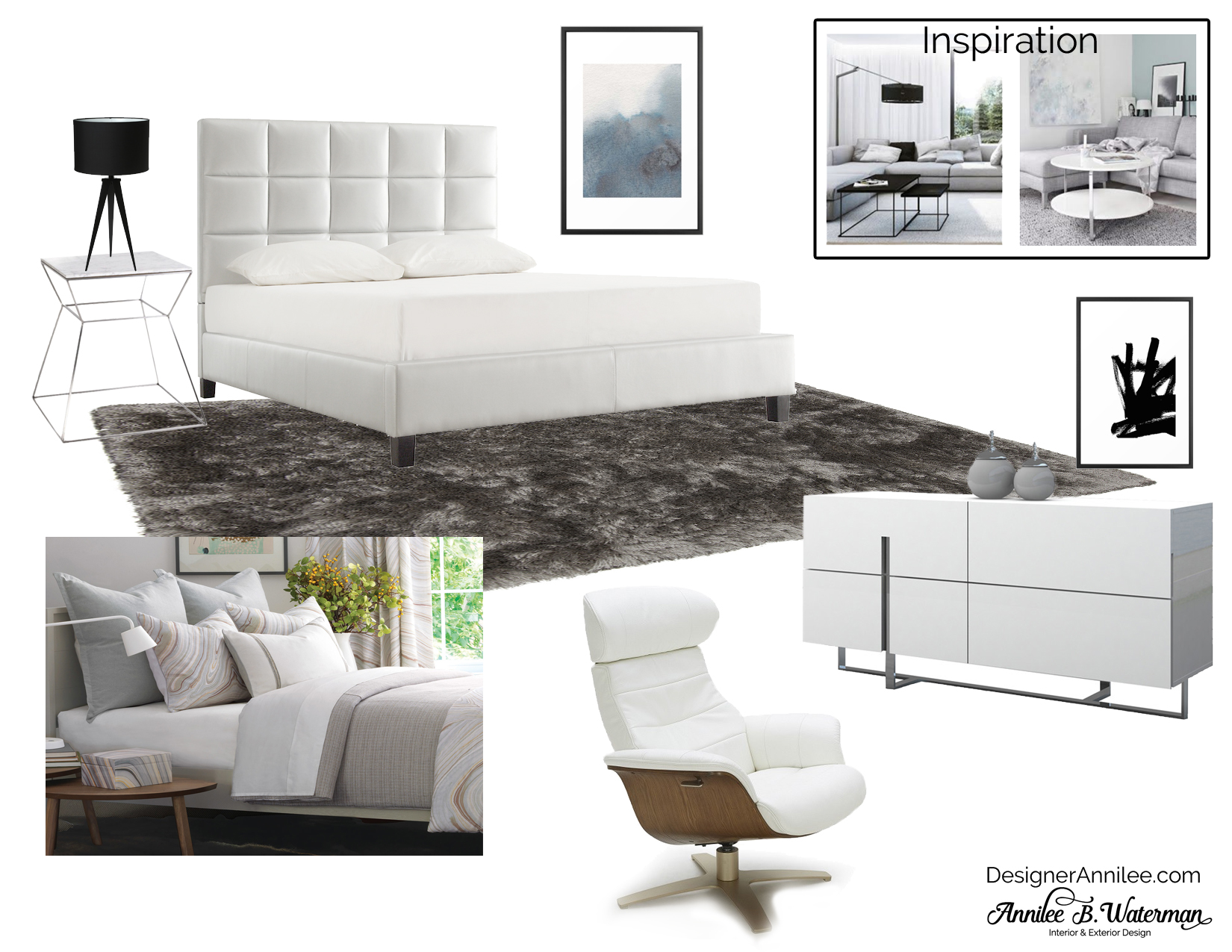 Contemporary White & Gray Bedroom