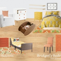 Interior Decorating, Mood Board, E-Design, Yellow, Orange, Bright Bedroom