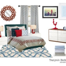 Edesign Interior Design Red & Navy Bedroom