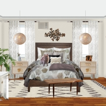 Bright White Gray Neutral Boho Bedroom E-Design