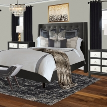 Gray Black White Glam Boho Bedroom E-Design