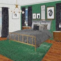 Green Glam Bedroom