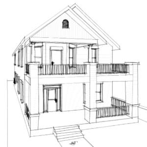 Historic Style Craftsman House Plan Sketch