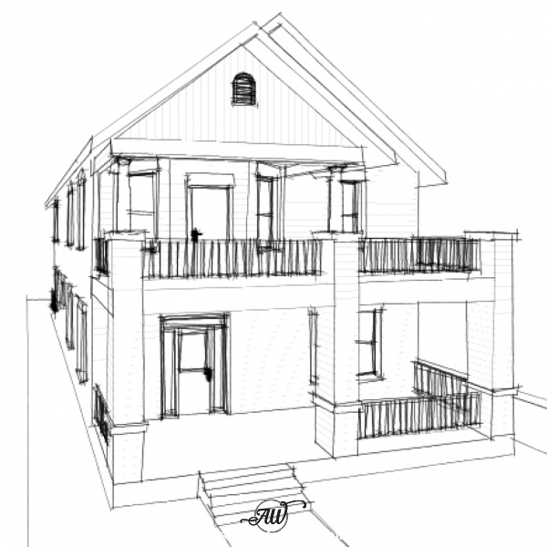 Historic Style Craftsman House Plan Sketch