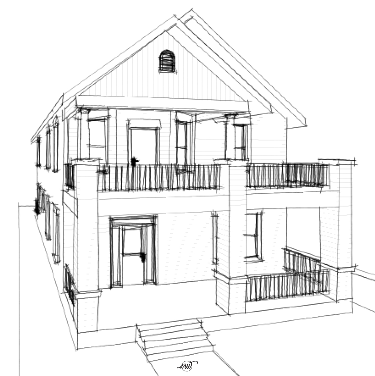Historic Style Craftsman Style House Plan Sketch