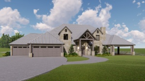 Texas Rustic Ranch Style Home Design Rendering