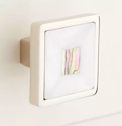 Mother of Pearl & Polished Nickel Cabinet Knob