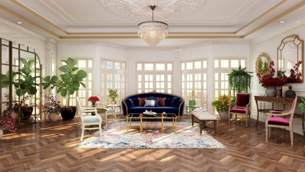 3d photorealistic rendering of a vintage style Paris apartment.