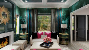 One Room Challenge Featured Designer Nikole Starr Interiors - Living Room Rendering