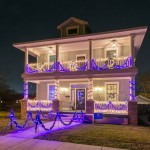 Traditional, historic foursquare style new home in Fort Worth Texas, dressed up with Christmas lights, garland and wreaths. Happy Holidays, modern vintage style, from DesignerAnnilee.com