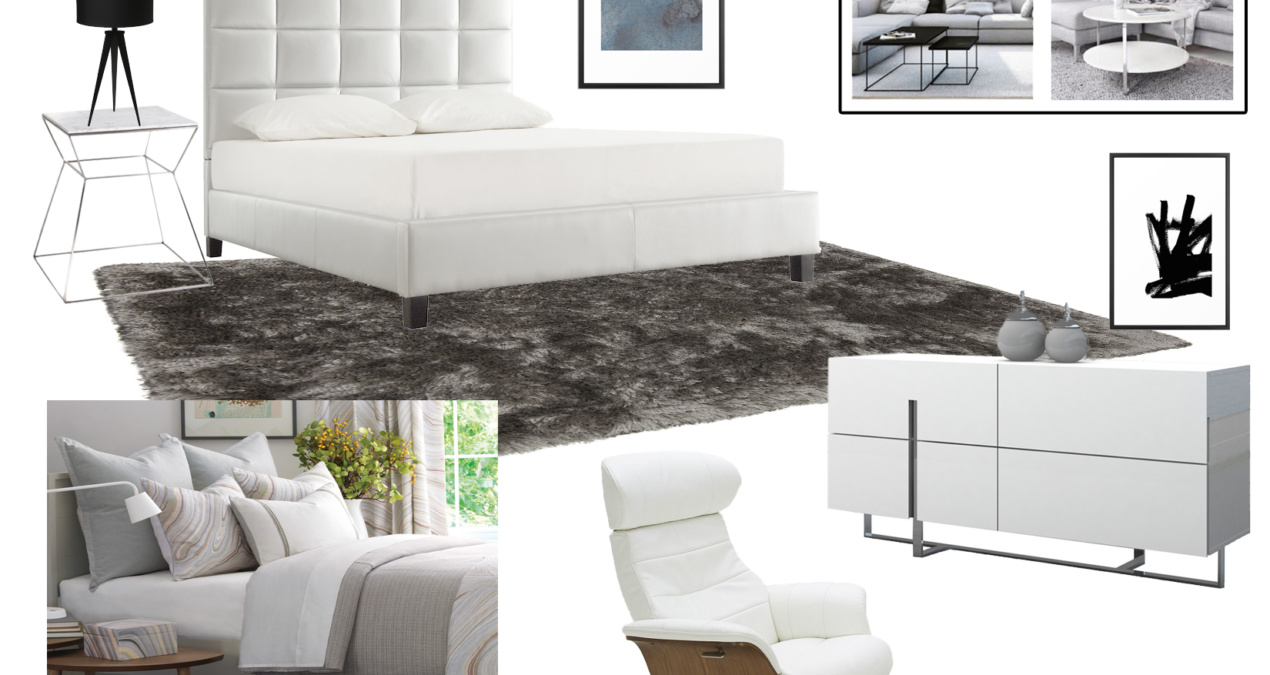 Contemporary White & Gray Bedroom
