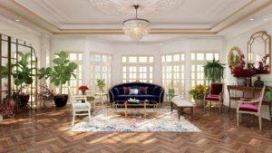3d photorealistic rendering of a vintage style Paris apartment.