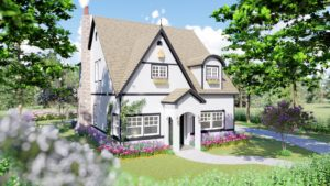Storybook style modern home exterior architectural rendering